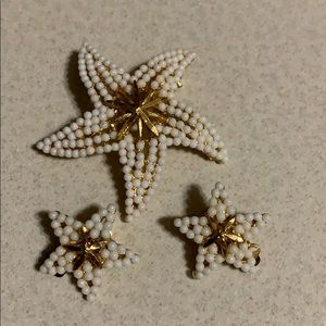 BSK starfish broach and earrings gold tone